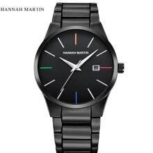 купить Fashion Black Hannah Martin casual full steel quartz Watch men Black Business Wristwatch waterproof Relojes Hombre Relogio 2017 дешево