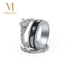Fashion Crystal CZ Stone Wedding Engagement Rings for Couples Stainless Steel Ring for women men Jewelry(China)