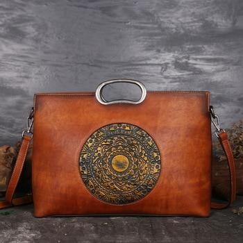 Lüks Kadın Hakiki deri çantalar Bayanlar Retro Zarif Omuz askılı çanta Inek Deri El Yapımı Bayan Çanta