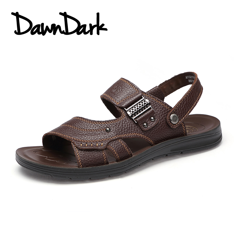 Summer Men Soft Leather Beach Sandals Handmade Male Split Leather Casual Sneaker Breathable Sandal Simple Design Big Size