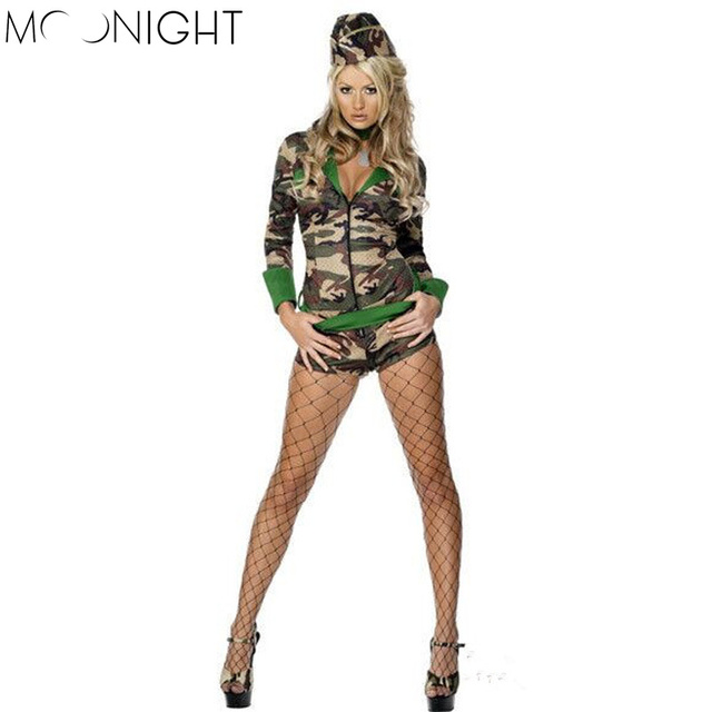 84d74c6eed4 MOONIGHT Sexy Adult Women Army Uniform Costume Halloween Sexy Party Costumes  Soldier Women Camouflage Color Bodysuit+Hat