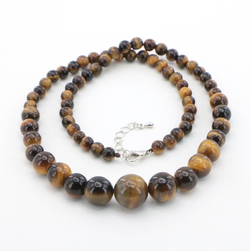 2 Natural yellow tiger stone necklace Jasper (2)