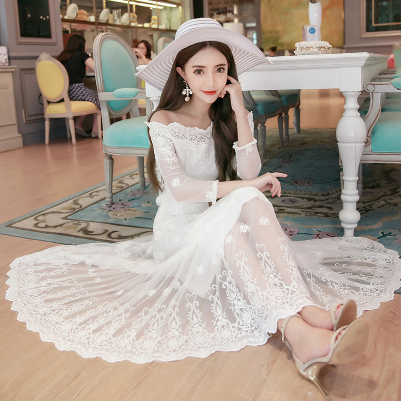 2016 Spring New Word Shoulder Lace font b Dress b font Sexy Hollow Sleeve Swing font