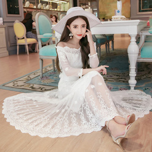 2016 Spring New Word Shoulder Lace Dress Sexy Hollow Sleeve Swing Dress Making Fashion Cute Women's Clothing