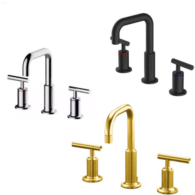 basin faucet Solid Brass chrome or gold or black 3 Pcs gold Faucet Set 2 Handles Sink Basin Faucet, Basin Tap BF066g anon маска сноубордическая anon somerset pellow gold chrome