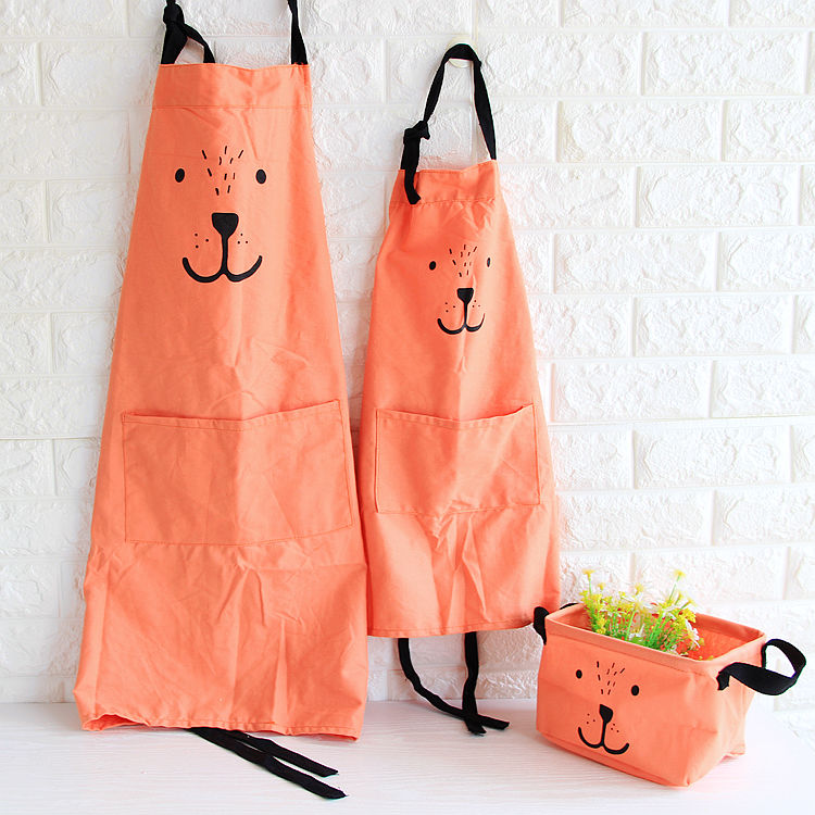 3 color cute expression parental apron Kitchen Apron Kid Girl Avental de Cozinha Divertido Tablier Cuisine Pinafore Apron