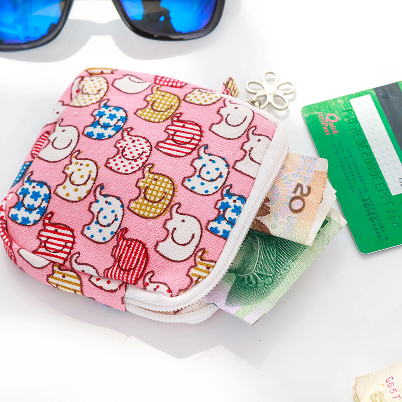 Cartoon Pattern Sanitary Napkin Bag Mini Pouch Small Women Cotton Bag Girl Sanitary Pad Storage Bag Coin Cash Purse Pouch Bag