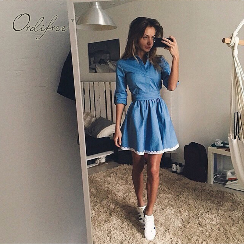 Ordifree 2019 Summer Women Denim Sundress Overalls Long Sleeve Crochet A Line Jeans Dress Robe Femme