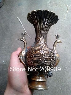 Hd0715 CHINESE HANDWORK CARVING Bronze Vase Statue (A0314)