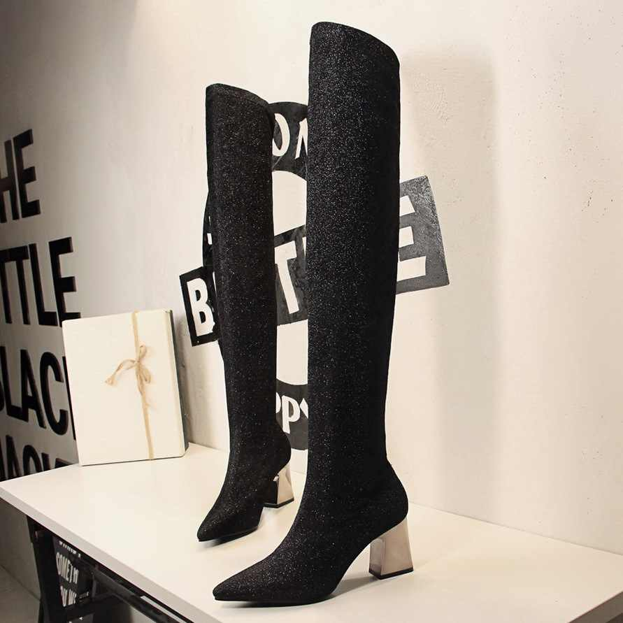 c1a2122a9d5b ... black/silver glitter thigh high sock boots women designer metal thick  heel sequined fabric over ...