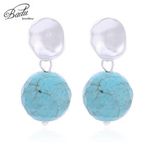 Badu Small Stud Earrings for Women Lovely Vintage Natural Stone Pendant Jewelry Gift Girls Wholesale