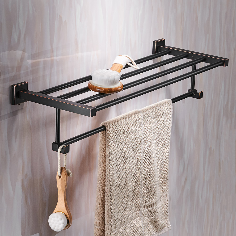 Bathroom shelves Wall mounted Solid Brass Vintage Style Bath Towel ...