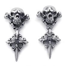 25 * 12 mm punky de la personalidad de acero inoxidable de la joyería gota para el oído de casting negro cristal skeleton skull cross pendientes de gota de 072792