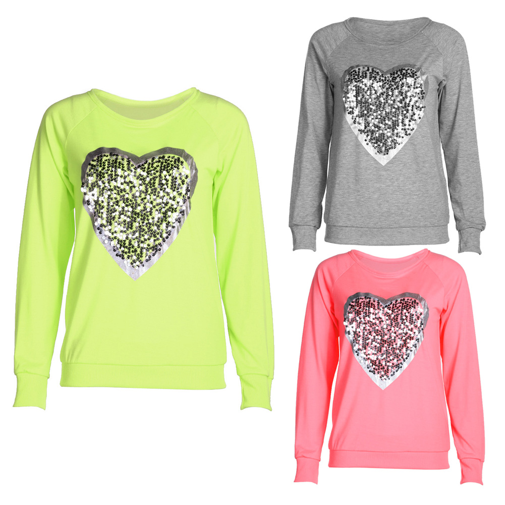 Love Heart Sequins T-shirt Neon Color Round Neck Long Sleeve Slim Casual Cute Women Shirt Pullover Female Clothes