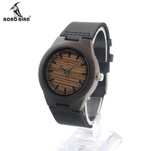 Bobo bird e26 100% mujeres se visten de pulsera de madera de ébano con reloj de cuarzo ocasional diseñador de la marca correa de cuero reloj hombre