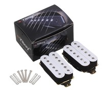 Yibuy 2x White Bridge Neck Double Coil Humbucker Pickups High Output HBBC WH