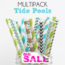 125pcs Mixed Colors TIDE POOLS Themed Paper Straws,Gray Sailor Stripe,Light Blue and Navy Chevron,Teal and Apple Green Striped