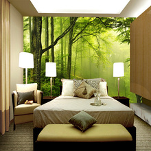 Customized 3D mural seamless wallpaper forest sunshine scenery behind bed sofa table background in the room of hotel