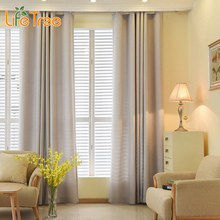 Faux Linen Velvet Modern Curtain for Living Room Bedroom Solid Color Window Blackout Kitchen Drapes Custom