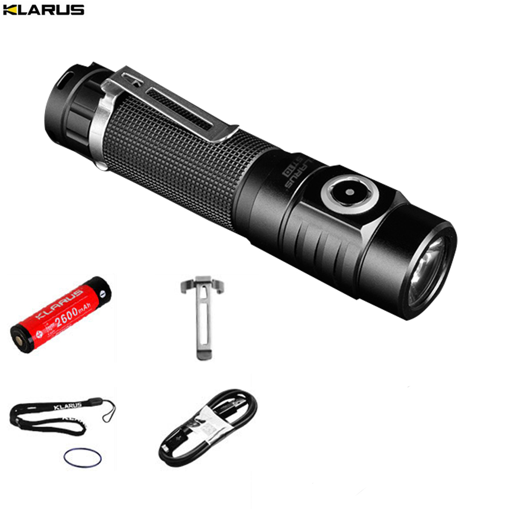 KLARUS ST10 New Flashlight XM-L2 U2 LED max. 1100LM beam distance 115 meter TORCH+ 18650 Li-ion Battery + USB Charging Cord flashlight nitecore ec20 cree xm l2 u2 led max 960 lumen beam distance 222 meter torch 18650 3500mah battery new i2 charger