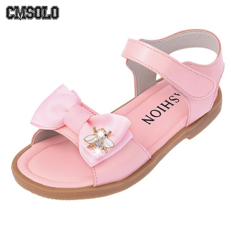 ab7286281 CMSOLO 2018 Girls Sandals Summer Fashion Princess Shoes Bow-tie Cow Muscle  Kids Leather Shoes