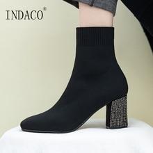 Women Autumn Boots Fashion Sock Genuine Leather 7cm