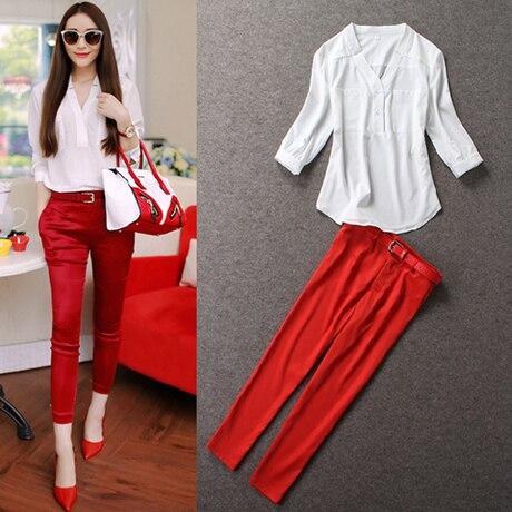 2016 Новый женский комплект одежды 2 костюмы топ + брюки европейская женщина рабочая одежда формальные комбинезоны летние рубашки + брюки белый, Красный S ~ XL