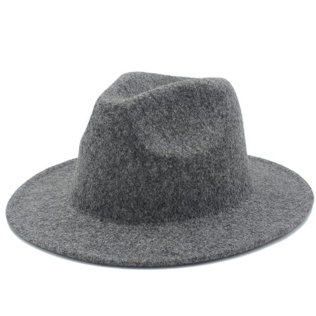 be9dd5ab3ae Retro Color 100% Wool Women s Men s Fedora Hat For Laday Cashmere Wide Brim  Jazz Church