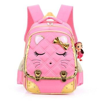 2017 модная школьная сумка для девочек, 1-6 класс, милый рюкзак с кошкой для учеников начальной школы, водонепроницаемый рюкзак для девочек, бес...