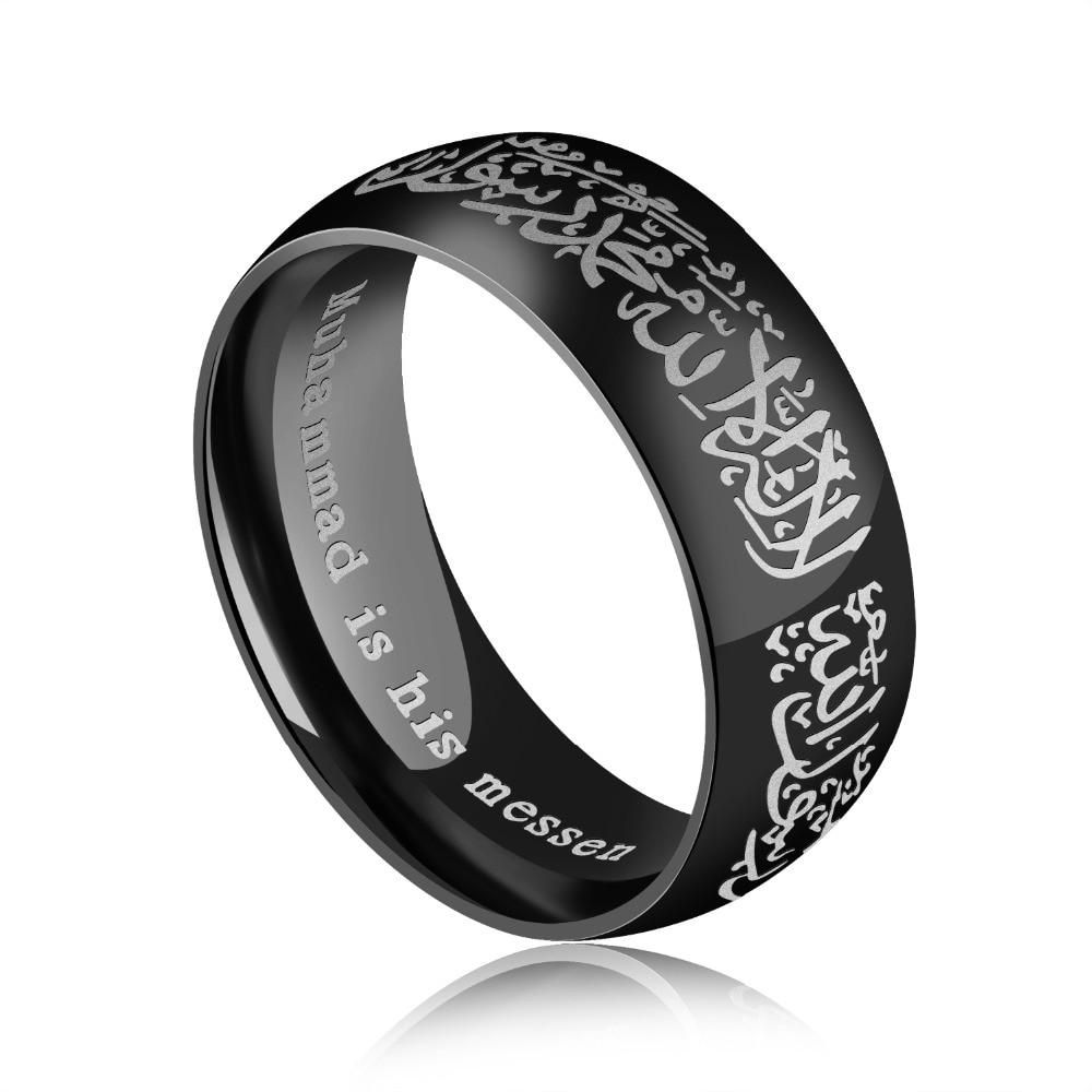 Muslim Rings For Women Men Allah Shahada Stainless Steel Islam Arabic God Messager Black Gold Band Muhammad Quran Middle Eastern