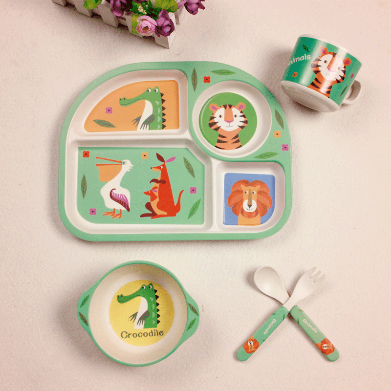 Baby Bamboo Fiber 5 Pcs/Set Tableware Set Baby Plate Children Cartoon Separation Plate Bowl Fork Spoon Cup Set Feeding Supplies