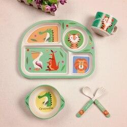 Детское бамбуковое волокно 5 шт./компл. набор посуды детская тарелка детская мультяшная разделительная тарелка чаша вилка ложка Набор чашек...