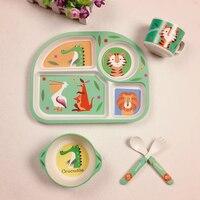 Baby Bamboo Fiber 5 Pcs Set Tableware Set Baby Plate Children Cartoon Separation Plate Bowl Fork