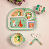 Baby Bamboo Fiber 5 Pcs Set Tableware Set Baby Plate Children Cartoon Separation Plate Bowl Fork
