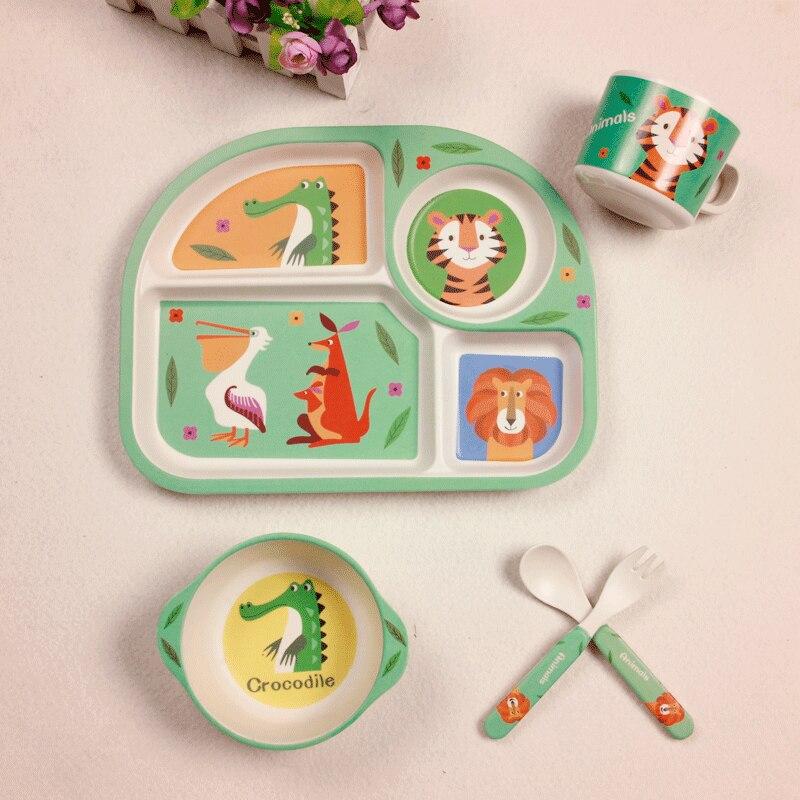 Baby Bambusfaser 5 Teile/satz Geschirr Set Baby Platte Kinder Cartoon Trennung Teller Schüssel Gabel Löffel Tasse Set Fütterung Liefert