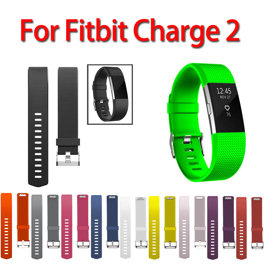 11 Colors Sport Watch Bracelet For Fitbit Charge 2 silicone Replacement Smart watch band Official pattern Small and Large Size