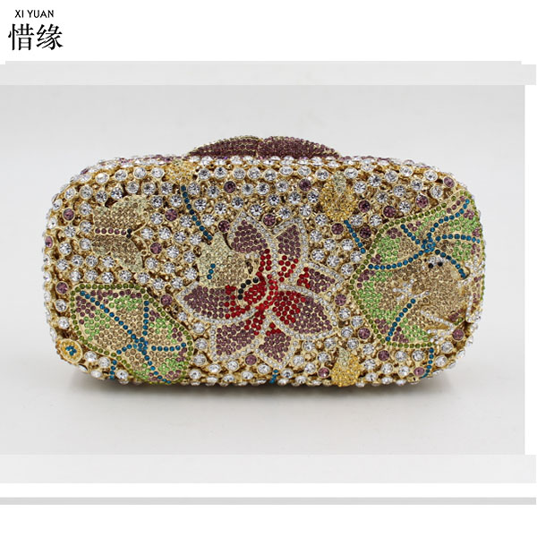 XIYUAN BRAND Women Crystal Evening Clutch Bags Diamond Handbags Wedding Party Purse Rhinestones Clutches Luxury Banquet wallet xiyuan brand women gold silver purse flower multicolor evening bags wedding clutch luxury crystal clutches diamond party bag