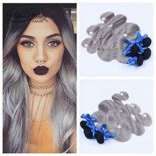 Hot Selling Dark Roots Grey Hair Weave Ombre 1B/Grey Brazilian Body Wave Virgin Hair 3 Bundles Silver Grey Human Hair Extension