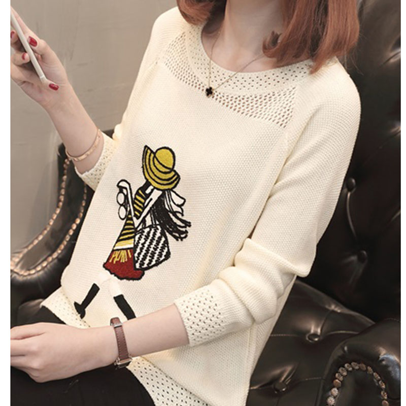 2018 Spring Pullovers and Sweaters Fashion Ladies Long Sleeve Female Elegant Black Pull Femme Luxury Formal Knitwear Sweter Pull ...