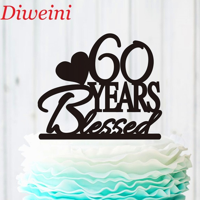 60 Years Blessed Cake Topper Classy 60th Birthday Cake Topper