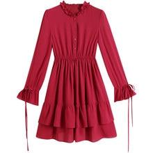 ATKULLQZ Brand 2019 spring new women's red  casual dress female Korean fashion round neck pleated Dress mini dress women clothes red round neck mini dress