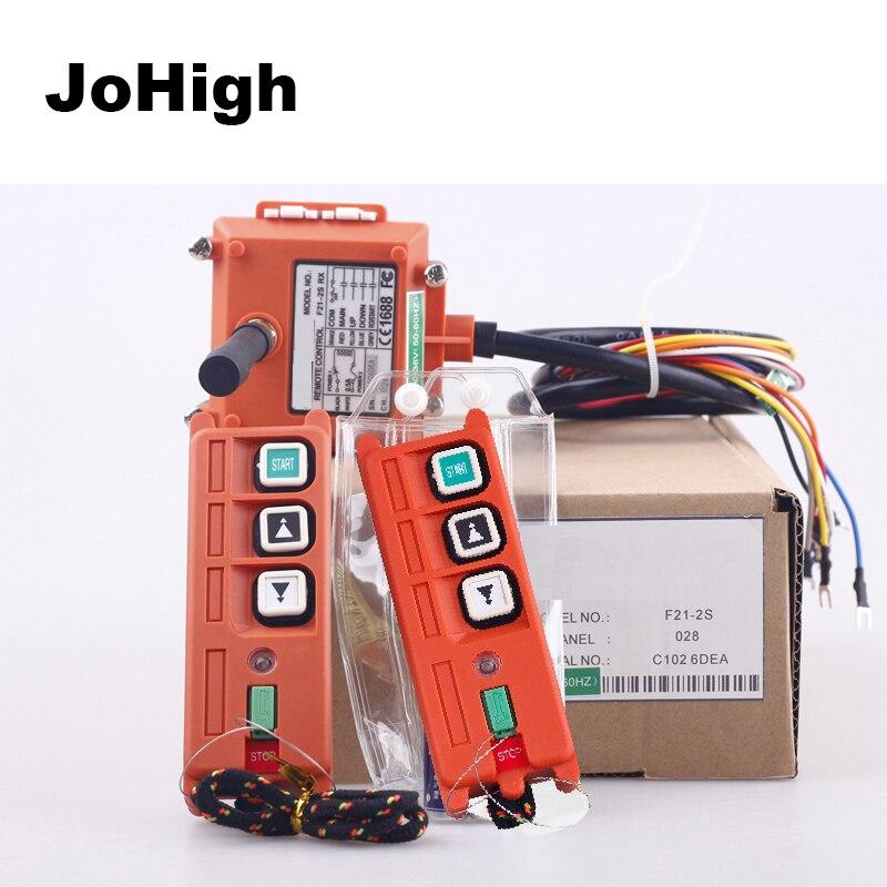 JoHigh 220 V 380 V 36 V 24 V industrielle télécommande commutateurs palan ascenseur grue F21-2S 2 émetteurs + 1 récepteur