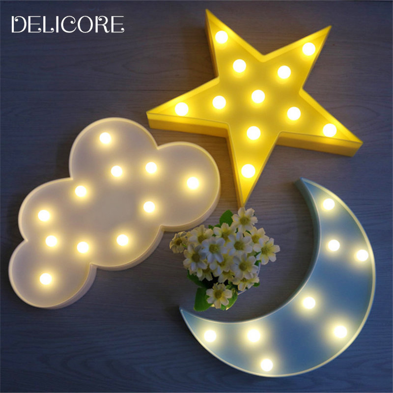 DELICORE Lovely Cloud Light 3D Star Moon Night Light LED Cute Marquee Sign For Baby Children Bedroom Decor Kids Gift Toy M02 delicore purple light unicorn head led night lights animal marquee lamps on wall for children party bedroom decor gifts s027 p