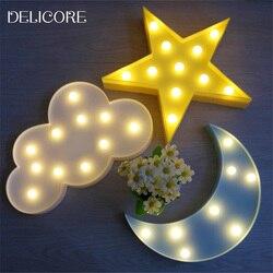 DELICORE Schöne Wolke Licht 3D Sterne Mond Nachtlicht FÜHRTE Niedlich  Festzelt Zeichen Für Baby Kinder Schlafzimmer Dekor Kinder Geschenk  Spielzeug M02