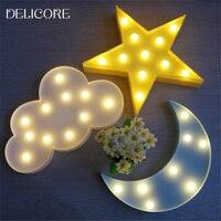 11 Leds Light Cloud 3D Flamingo Cactus Marquee Night Light LED Battery Nightlight Desk Nights Lamp
