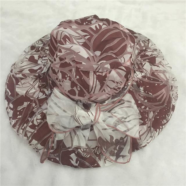 2017 Nueva Impresión de la mujer elegante sombrero de Organza Visera Plegable Ajustable verano Chapeu Cap Señoras Sol Sombrero de Ala Ancha Playa Del Arco sombreros