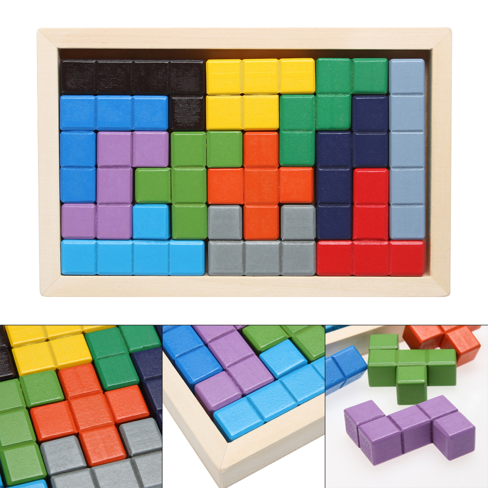 Wooden Tetris Game Board Children Educational Montessori Jigsaw Blocks Kids Creative Jigsaw Tangram Developmental Toy 32 pcs setcolor changed diy jigsaw toys wooden children educational toys baby play tive junior tangram learning set