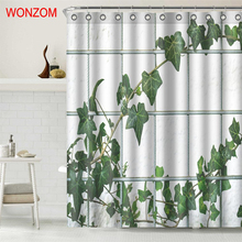 цена на WONZOM Window Leaves Waterproof Shower Curtain Fabric Bathroom Decor Decoration Cortina De Bano Polyester Bath Curtain With Hook