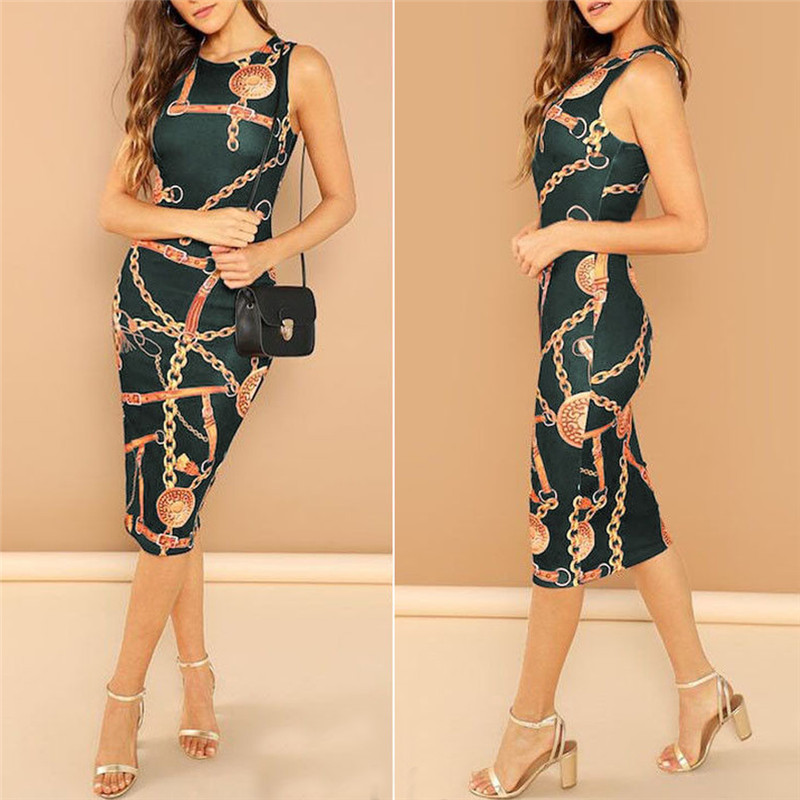 Fashion women 39 s chain printing sleeveless long dress summer elegant lady o neck cocktail party high waist slim dresses in Dresses from Women 39 s Clothing