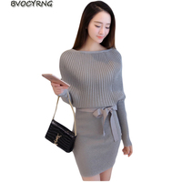 New fashion Ladies Autumn Dress Women Slim Pack Dress Autumn Winter Bat Sleeve Knit Short Sexy Vestido A0146